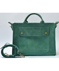 Кожаная сумка B003 зеленая