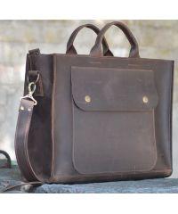 Кожаная сумка B003 коричневая