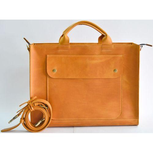 Кожаная сумка B003 рыжая