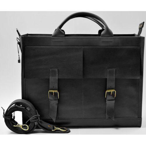 Кожаный портфель B004 черный