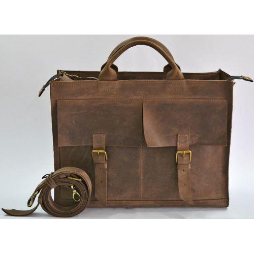 Кожаный портфель B004 коричневый