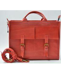 Кожаный портфель B004 красный