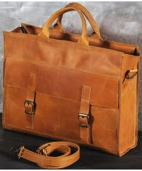 Кожаный портфель B004 рыжий