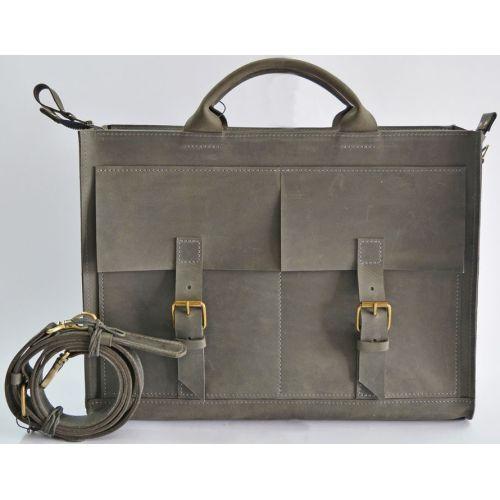 Кожаный портфель B004 серый
