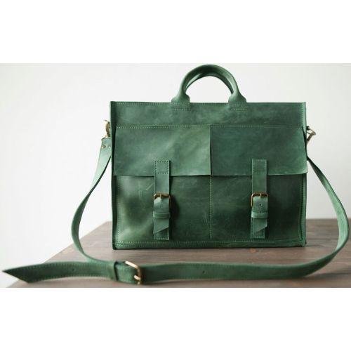 Кожаный портфель B004 зеленый