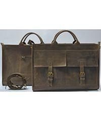Кожаный портфель B005 коричневый