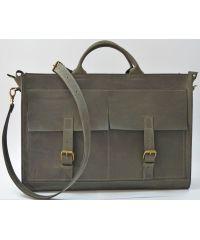 Кожаный портфель B005 серый