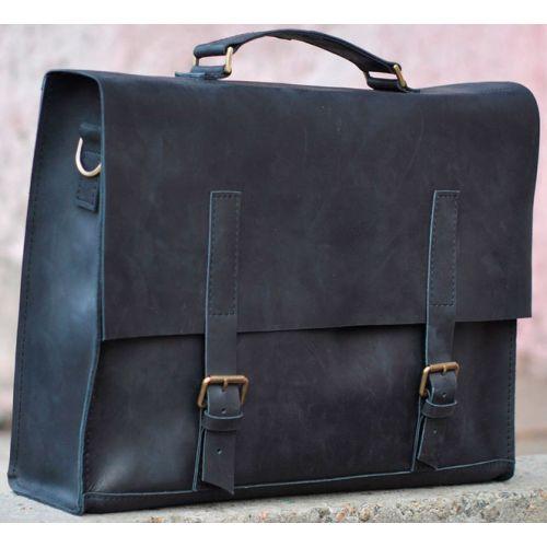 Кожаный портфель B009 черный