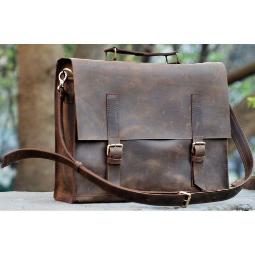 Кожаная сумка B009 коричневая