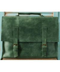 Кожаный портфель B009 зеленый