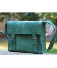 Кожаная сумка B010 зеленая