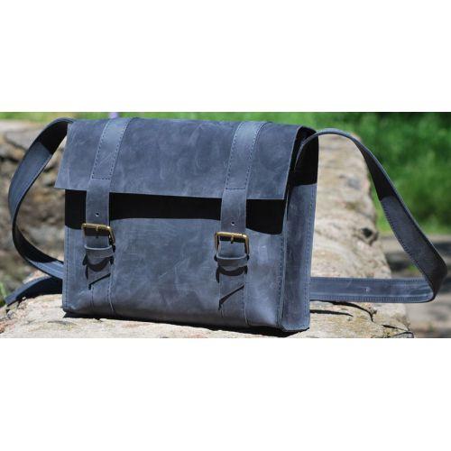 Кожаная сумка B010 синяя