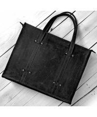 Кожаная сумка B013 черная