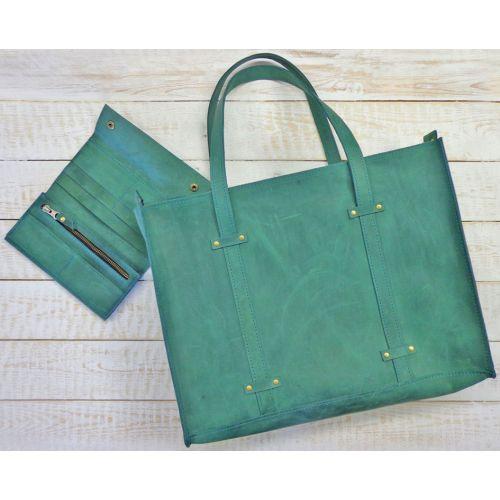 Кожаная сумка B013 зеленая