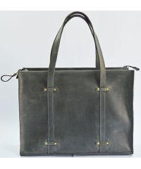 Кожаная сумка B013 серая