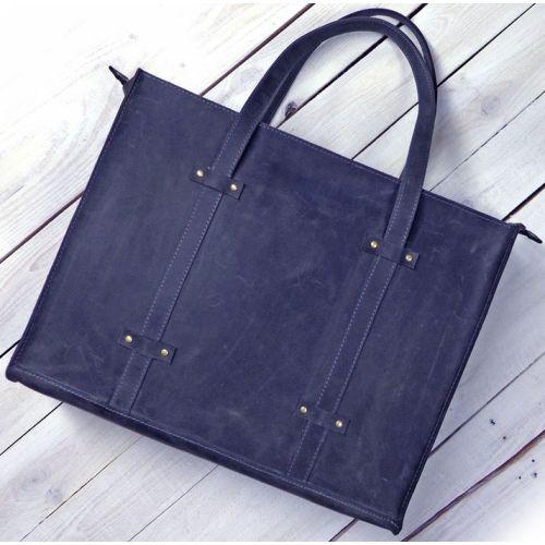 Кожаная сумка B013 синяя