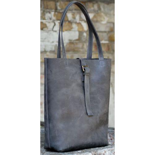 Кожаная сумка Tote B014 серая