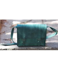 Кожаная сумка B015 зеленая
