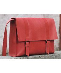Кожаная сумка B015 красная