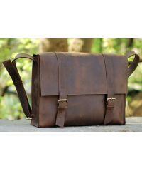 Кожаная сумка B015 коричневая