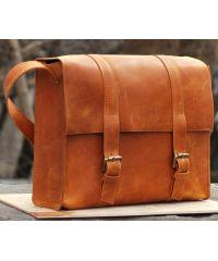 Кожаная сумка B015 рыжая