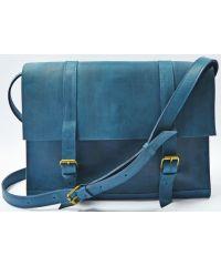 Кожаная сумка B015 синяя
