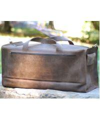 Кожаная дорожная сумка B017 коричневая