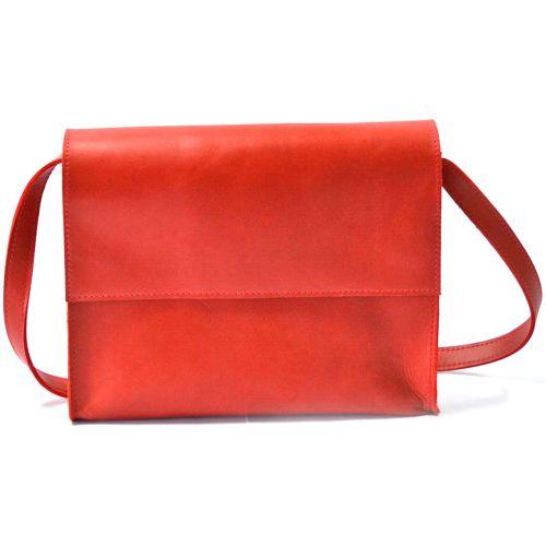 Кожаная сумка b026 красная