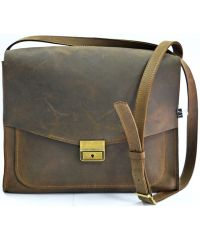 Кожаная сумка B032 коричневая