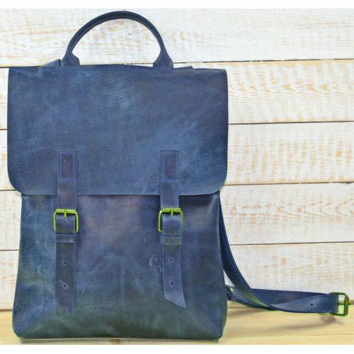 Кожаный рюкзак BP-0007 синий
