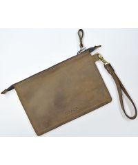 Кожаный клатч конверт C005-1 коричневый