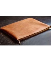 Кожаный клатч конверт C005 рыжий