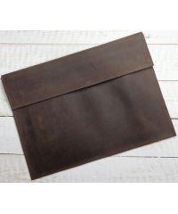 Кожаный клатч конверт C014 коричневый