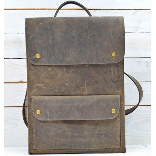 Кожаный рюкзак P001 коричневый