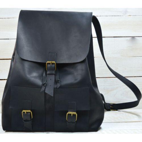 Кожаный рюкзак P003 черный