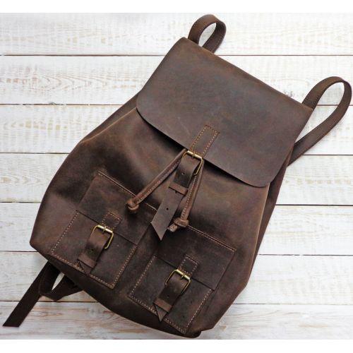 Кожаный рюкзак P003 коричневый