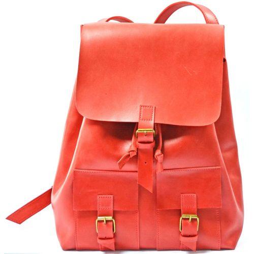 Кожаный рюкзак P003 красный