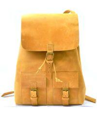 Кожаный рюкзак P003 рыжий
