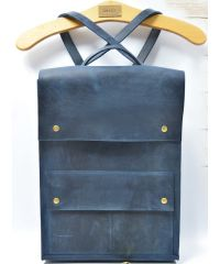 Кожаный рюкзак P004 синий