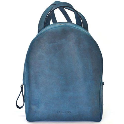 Кожаный рюкзак P013 синий