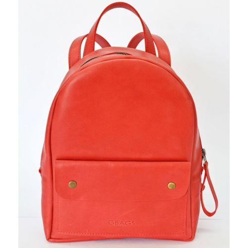 Кожаный рюкзак P013s красный
