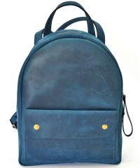 Кожаный рюкзак P013s синий