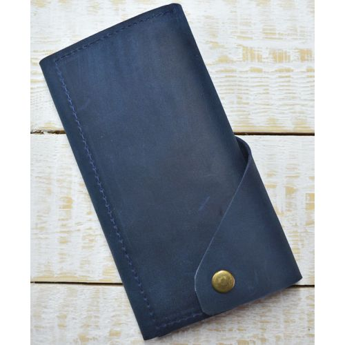 Кожаное портмоне W.0001-CH синее