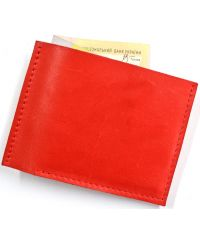 Кожаное портмоне W.0005-1 красное