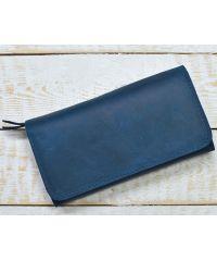 Кожаное портмоне W.0009-CH синее