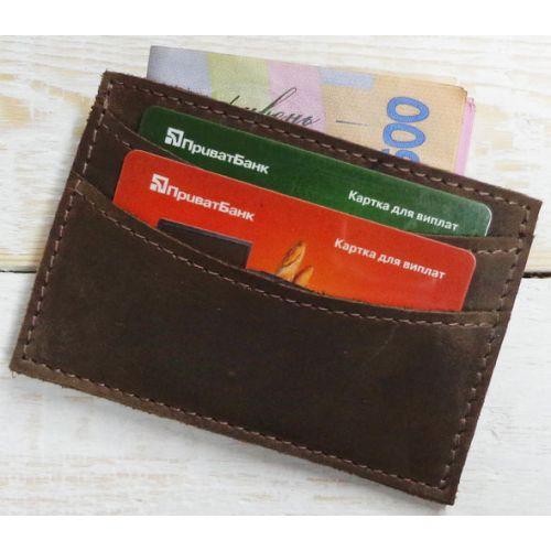 Кожаный кошелек - картхолдер W.003.3-CH коричневый