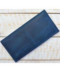 Кожаное портмоне W013 синее