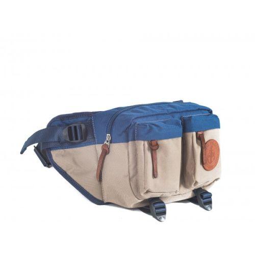 """Поясная сумка GIN """"Дакота"""" бежевая с синим"""