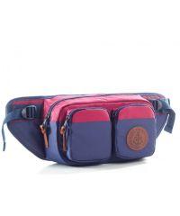 "Поясная сумка GIN ""Дакота"" синяя с бордовым"