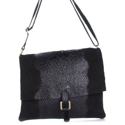 Женский кожаный клатч 1252 черный Италия